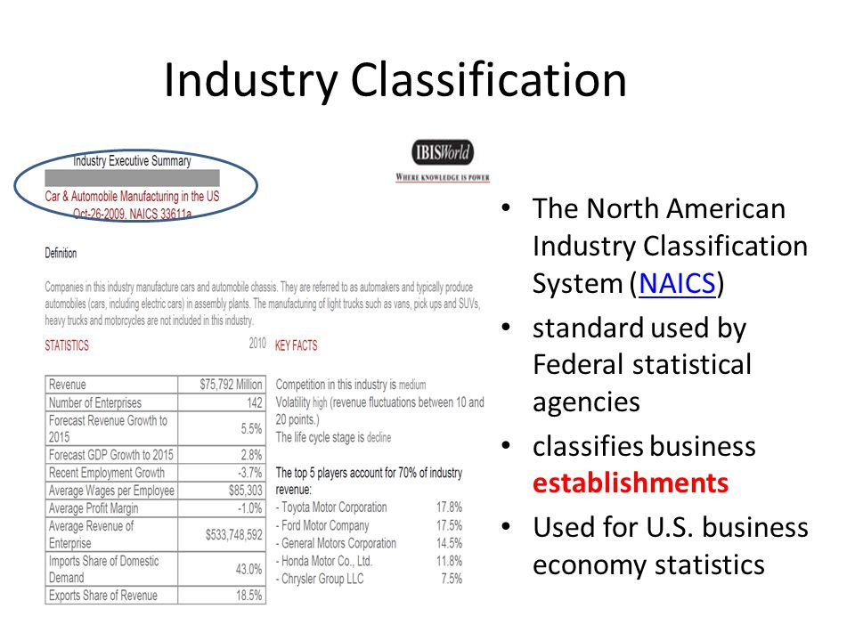 Industry Classification The North American Industry Classification System (NAICS)NAICS standard used by Federal statistical agencies classifies business establishments Used for U.S.