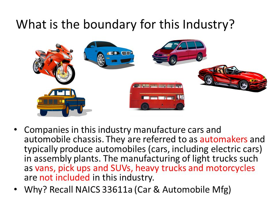 NAICS 33611a [Car & Automobile Mfg] Products, top players, cost structure and market segments indicate elements of the value chain.