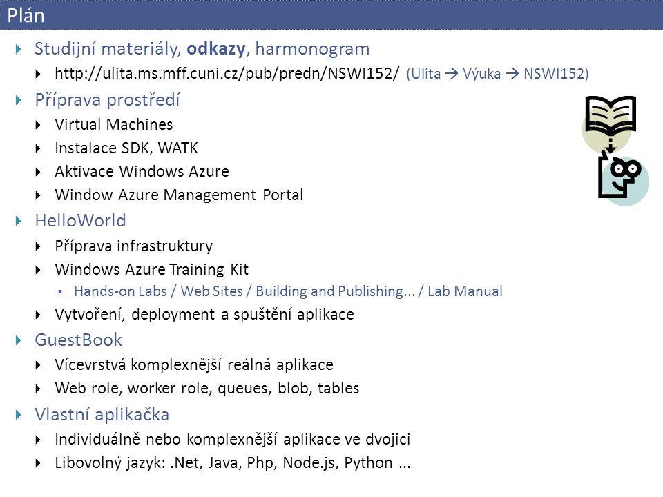 Příprava prostředí  Virtual Machines  VMware vSphere Client  bobr.ms.mff.cuni.cz - SIS login / pwd  vSphere Web client  https://bobr.ms.mff.cuni.cz/vsphere-client  [VCenter] VM: BOBR / VIRTLAB / Cloud / Students  Nastavit IP 10.2.1.xx  Grupík  Subnet 255.255.0.0, GW 10.2.0.1, DNS 195.113.19.71/77  RDP: acheron.ms.mff.cuni.cz:102xx  Power Options - never sleep  Windows Azure SDK 2.2 pro VS 2013  http://www.windowsazure.com/en-us/develop/net/tutorials/get-started/  Aktivace Windows Azure  http://www.windowsazurepass.com/azureu  Window Azure Management Portal  https://manage.windowsazure.com/  Windows Azure Training Kit  http://ulita.ms.mff.cuni.cz/pub/predn/NSWI152/azure/watk.exe  c:\azure\watk Have a code Redeem