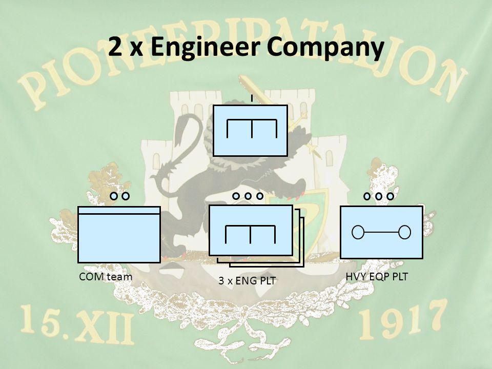 2 x Engineer Company COM team 3 x ENG PLT HVY EQP PLT