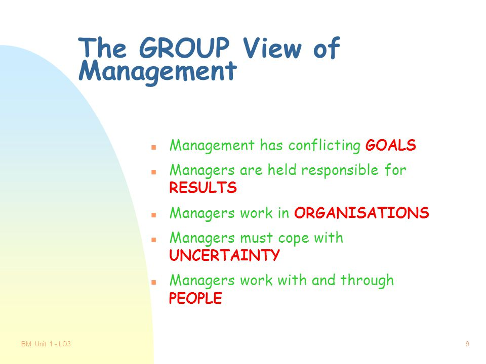 BM Unit 1 - LO38 Functions of Management n Plans n Organises n Commands n Co-ordinates n Controls n Delegates n Motivates