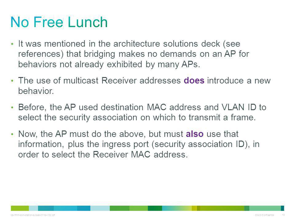 bz-nfinn-soln-station-subset-0113-v02.pdf Cisco Confidential 13 It was mentioned in the architecture solutions deck (see references) that bridging makes no demands on an AP for behaviors not already exhibited by many APs.