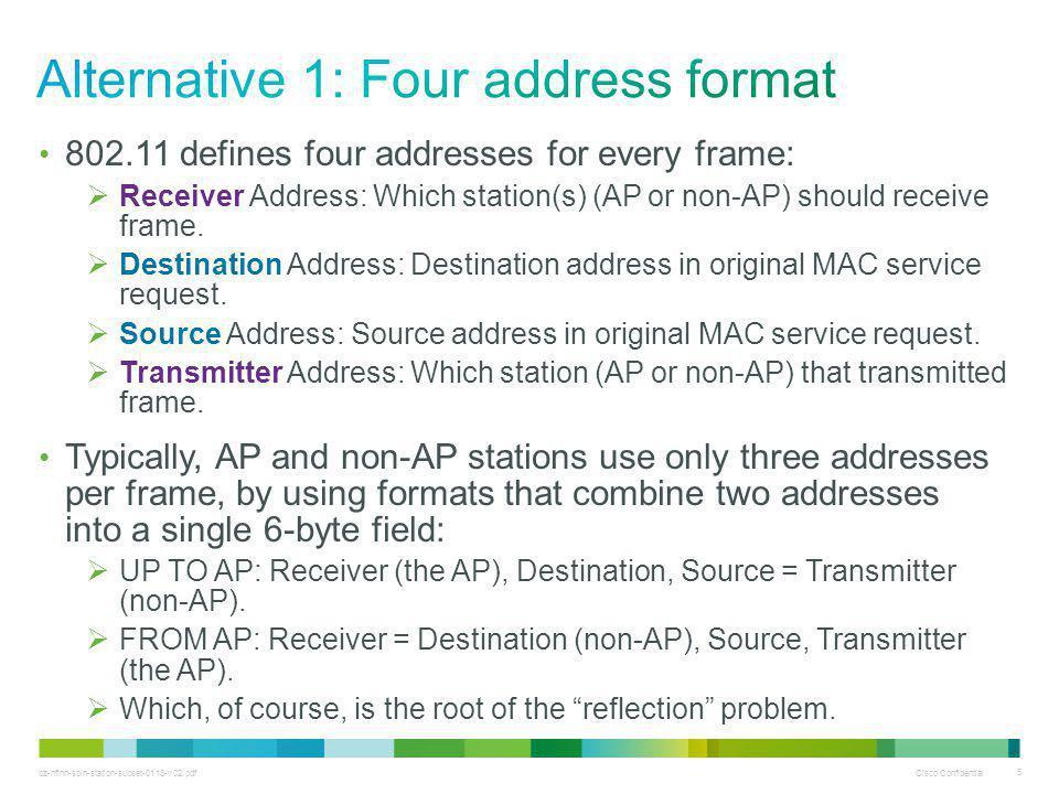 bz-nfinn-soln-station-subset-0113-v02.pdf Cisco Confidential 5 802.11 defines four addresses for every frame:  Receiver Address: Which station(s) (AP