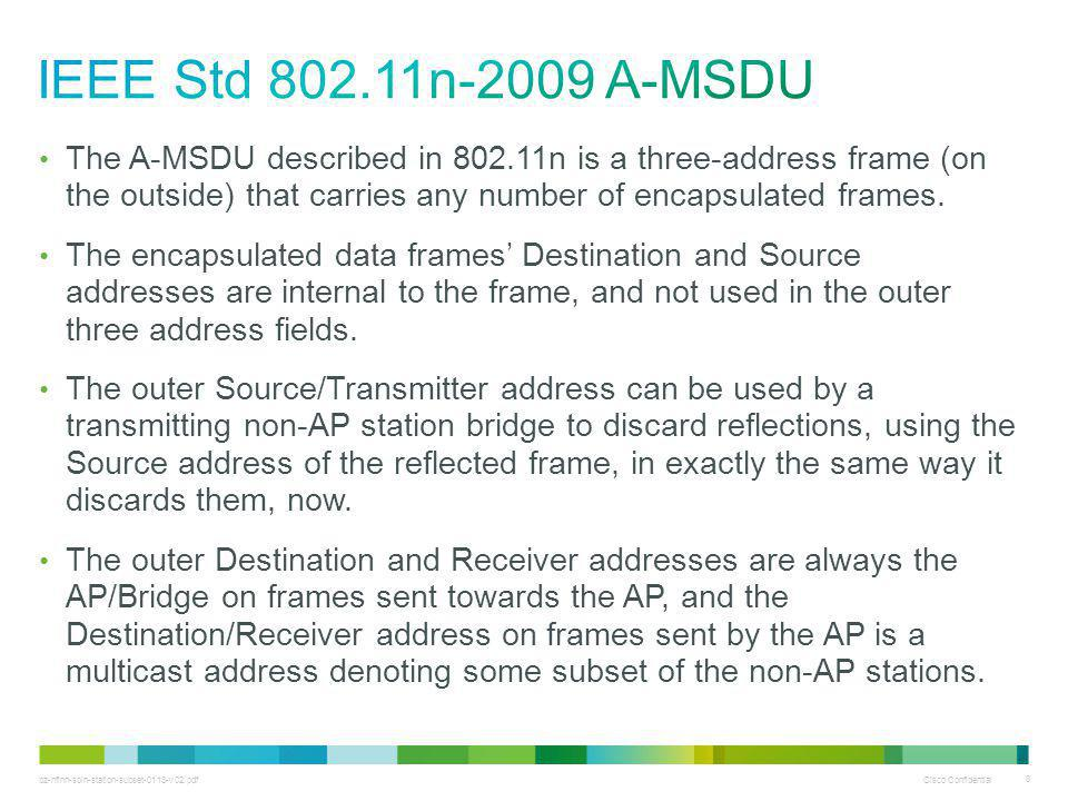 bz-nfinn-soln-station-subset-0113-v02.pdf Cisco Confidential 8 The A-MSDU described in 802.11n is a three-address frame (on the outside) that carries any number of encapsulated frames.