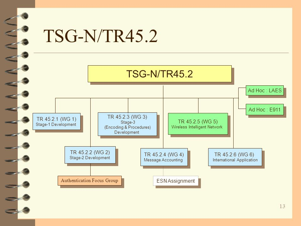 13 TSG-N/TR45.2 TR 45.2.1 (WG 1) Stage-1 Development TR 45.2.1 (WG 1) Stage-1 Development TR 45.2.5 (WG 5) Wireless Intelligent Network TR 45.2.5 (WG