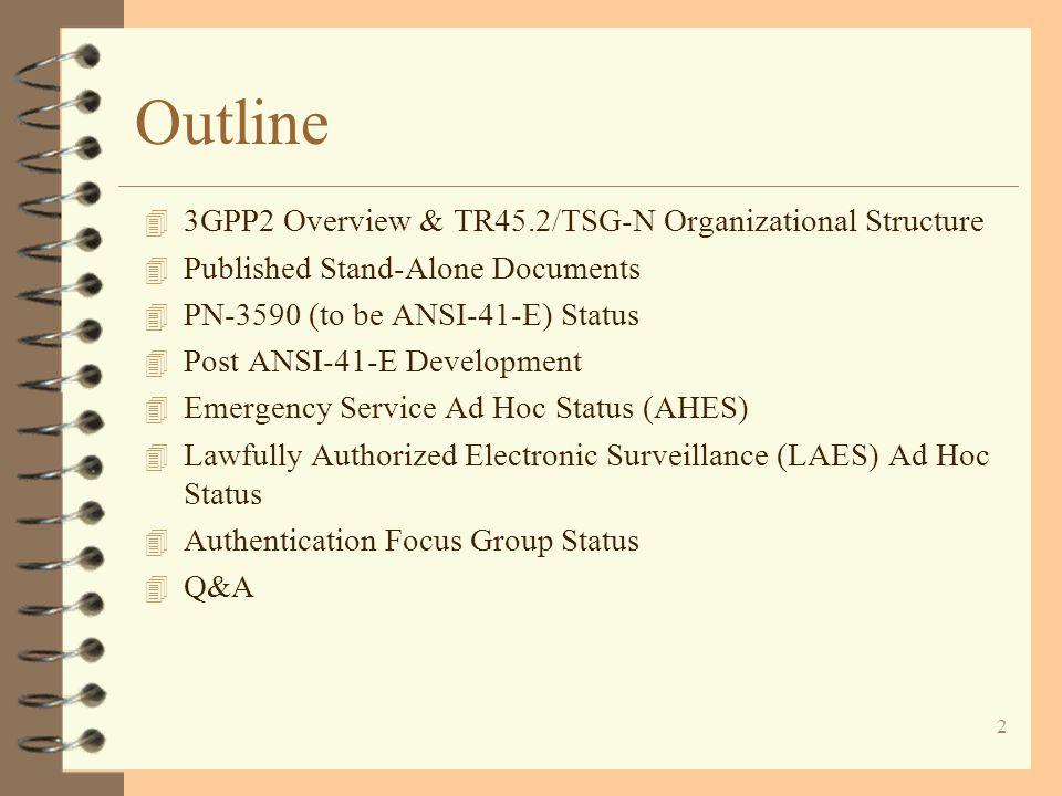13 TSG-N/TR45.2 TR 45.2.1 (WG 1) Stage-1 Development TR 45.2.1 (WG 1) Stage-1 Development TR 45.2.5 (WG 5) Wireless Intelligent Network TR 45.2.5 (WG 5) Wireless Intelligent Network TR 45.2.2 (WG 2) Stage-2 Development TR 45.2.2 (WG 2) Stage-2 Development TR 45.2.4 (WG 4) Message Accounting TR 45.2.4 (WG 4) Message Accounting TR 45.2.6 (WG 6) International Application TR 45.2.6 (WG 6) International Application Ad Hoc : E911 Ad Hoc : LAES TR 45.2.3 (WG 3) Stage-3 (Encoding & Procedures) Development TR 45.2.3 (WG 3) Stage-3 (Encoding & Procedures) Development Authentication Focus Group ESN Assignment