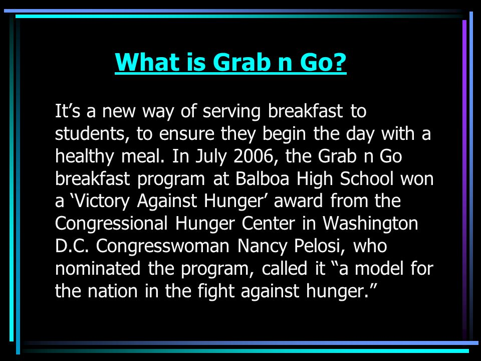 How does it differ from the regular school breakfast?