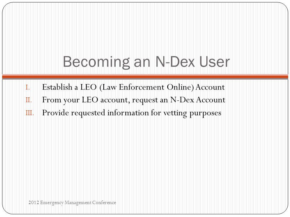 Becoming an N-Dex User I. Establish a LEO (Law Enforcement Online) Account II.