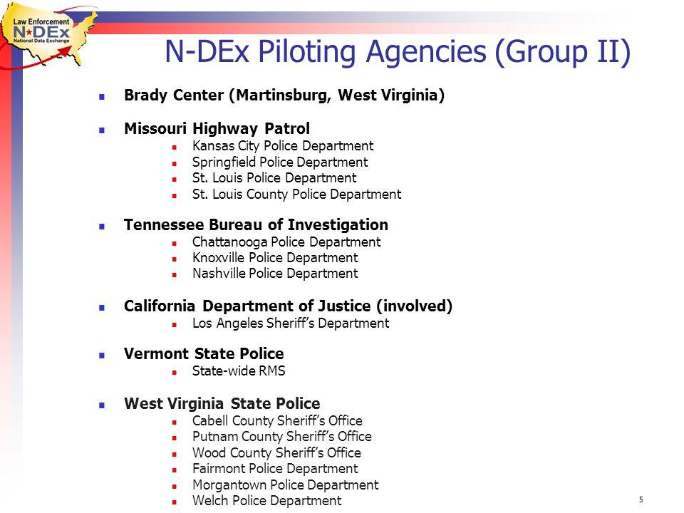 5 N-DEx Piloting Agencies (Group II) Brady Center (Martinsburg, West Virginia) Missouri Highway Patrol Kansas City Police Department Springfield Police Department St.