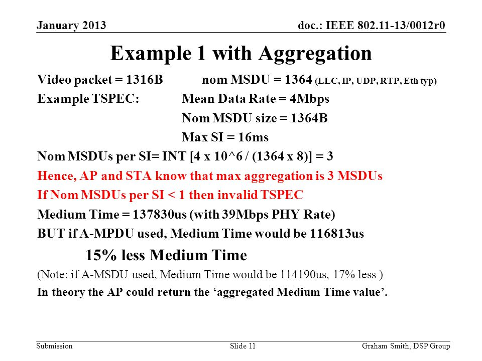 doc.: IEEE 802.11-13/0012r0 Submission Example 1 with Aggregation Video packet = 1316B nom MSDU = 1364 (LLC, IP, UDP, RTP, Eth typ) Example TSPEC: Mean Data Rate = 4Mbps Nom MSDU size = 1364B Max SI = 16ms Nom MSDUs per SI= INT [4 x 10^6 / (1364 x 8)] = 3 Hence, AP and STA know that max aggregation is 3 MSDUs If Nom MSDUs per SI < 1 then invalid TSPEC Medium Time = 137830us (with 39Mbps PHY Rate) BUT if A-MPDU used, Medium Time would be 116813us 15% less Medium Time (Note: if A-MSDU used, Medium Time would be 114190us, 17% less ) In theory the AP could return the 'aggregated Medium Time value'.