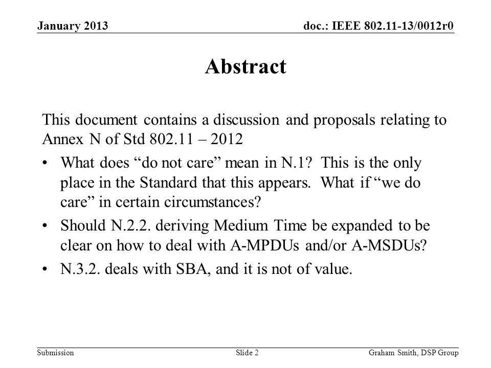 doc.: IEEE 802.11-13/0012r0 Submission Annex N General Point – Heading is Admission Control Should be TSPECs and Admission Control.