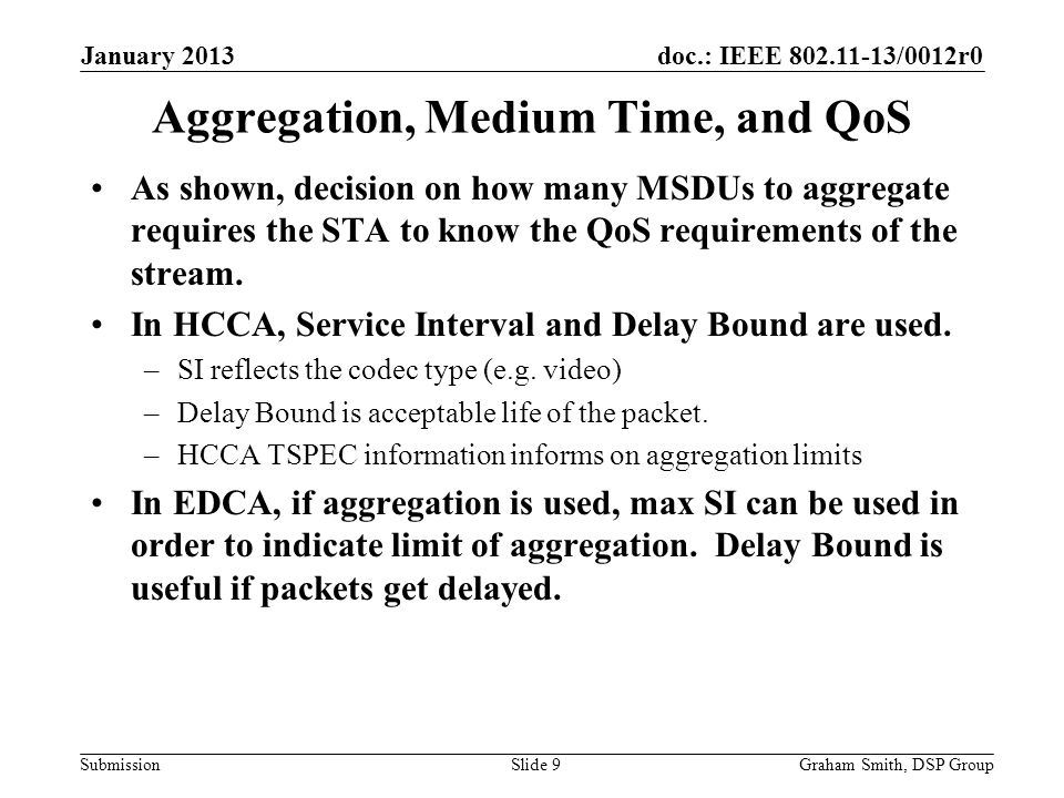 doc.: IEEE 802.11-13/0012r0 Submission Aggregation, Medium Time, and QoS As shown, decision on how many MSDUs to aggregate requires the STA to know the QoS requirements of the stream.