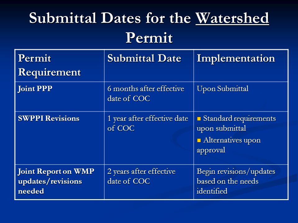 Submittal Dates for the Watershed Permit Permit Requirement Submittal Date Implementation Joint PPP 6 months after effective date of COC Upon Submittal SWPPI Revisions 1 year after effective date of COC Standard requirements upon submittal Standard requirements upon submittal Alternatives upon approval Alternatives upon approval Joint Report on WMP updates/revisions needed 2 years after effective date of COC Begin revisions/updates based on the needs identified
