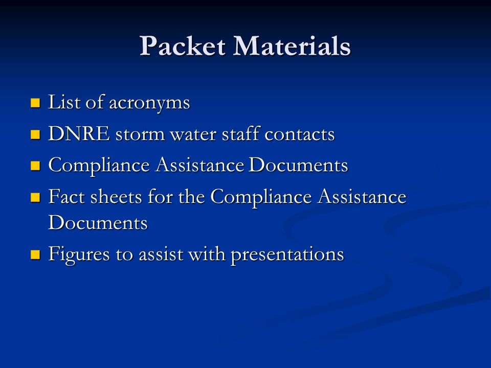 Compliance Assistance Documents Available for the Jurisdictional Permit Discharge Point Location Discharge Point Location SWMP – Standard Requirements SWMP – Standard Requirements Alternatives Alternatives Scope of the SWPPI Scope of the SWPPI Total Maximum Daily Loads Total Maximum Daily Loads Public Education Program Public Education Program Illicit Discharge Elimination Program Illicit Discharge Elimination Program Post-Construction Control Post-Construction Control Construction Runoff Construction Runoff Pollution Prevention/Good Housekeeping Pollution Prevention/Good Housekeeping SWMP – Measurable Goals SWMP – Measurable Goals