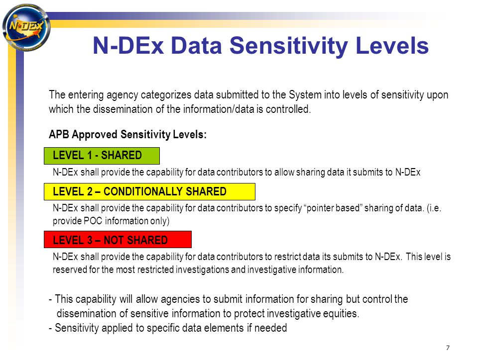 7 N-DEx Data Sensitivity Levels The entering agency categorizes data submitted to the System into levels of sensitivity upon which the dissemination of the information/data is controlled.