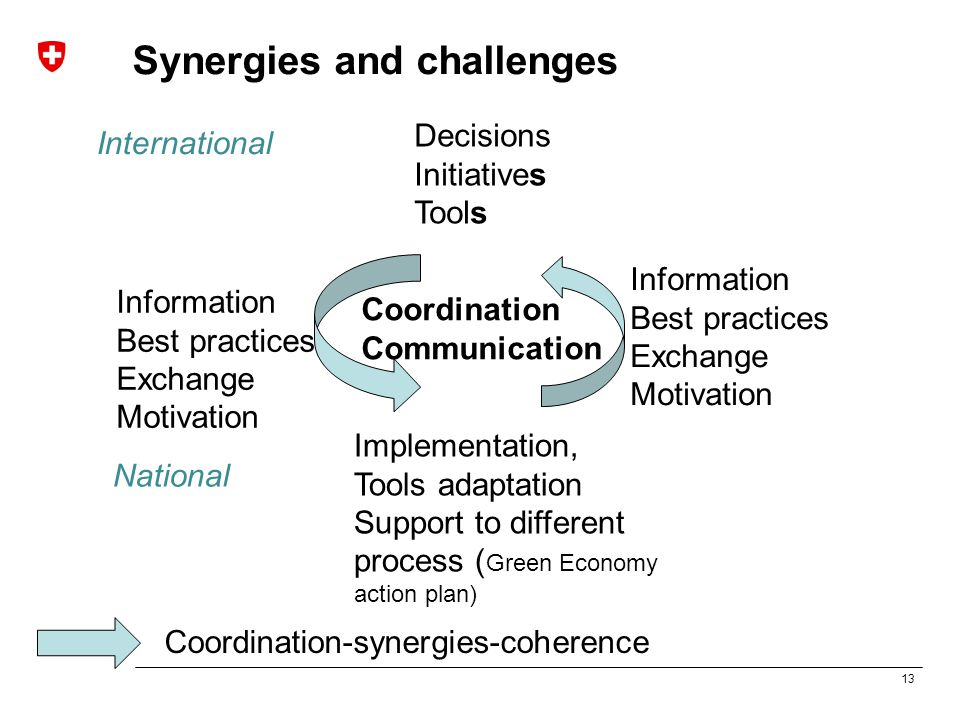 13 Synergies and challenges Decisions Initiatives Tools Implementation, Tools adaptation Support to different process ( Green Economy action plan) Information Best practices Exchange Motivation Information Best practices Exchange Motivation Coordination-synergies-coherence Coordination Communication International National