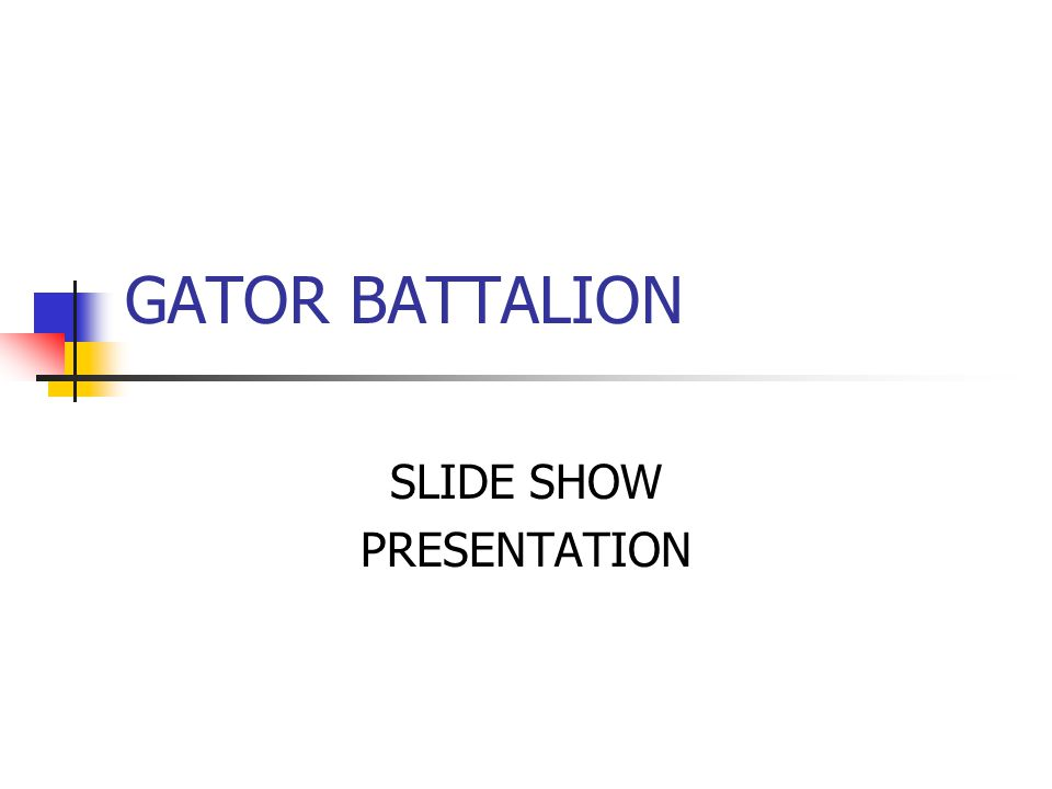GATOR BATTALION SLIDE SHOW PRESENTATION