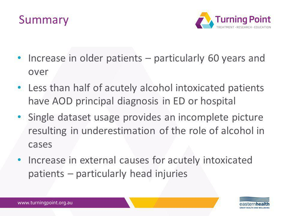 Summary Increase in older patients – particularly 60 years and over Less than half of acutely alcohol intoxicated patients have AOD principal diagnosis in ED or hospital Single dataset usage provides an incomplete picture resulting in underestimation of the role of alcohol in cases Increase in external causes for acutely intoxicated patients – particularly head injuries