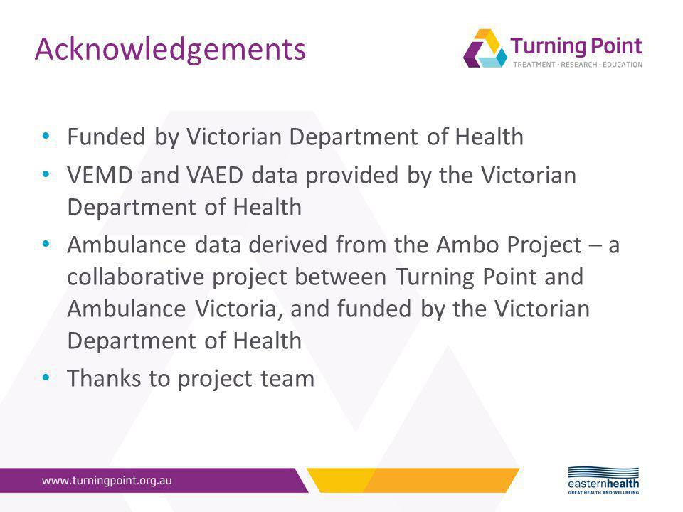 Acknowledgements Funded by Victorian Department of Health VEMD and VAED data provided by the Victorian Department of Health Ambulance data derived from the Ambo Project – a collaborative project between Turning Point and Ambulance Victoria, and funded by the Victorian Department of Health Thanks to project team