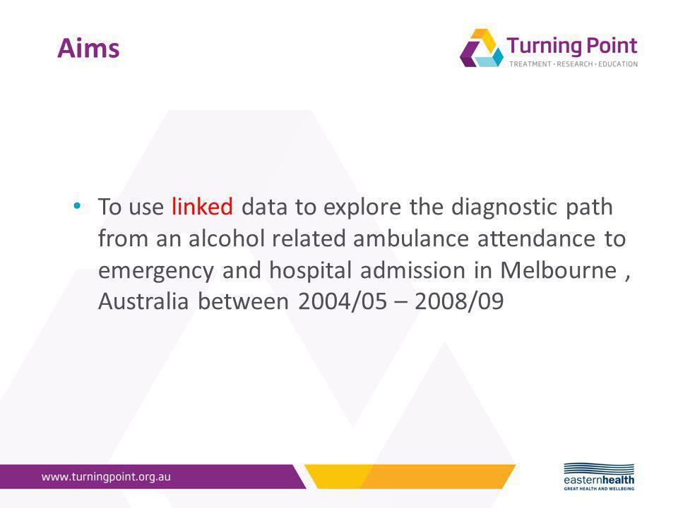 Aims To use linked data to explore the diagnostic path from an alcohol related ambulance attendance to emergency and hospital admission in Melbourne, Australia between 2004/05 – 2008/09