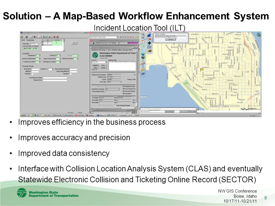 Solution – A Map-Based Workflow Enhancement System 8 Incident Location Tool (ILT) NW GIS Conference Boise, Idaho 10/17/11-10/21/11 Improves efficiency in the business process Improves accuracy and precision Improved data consistency Interface with Collision Location Analysis System (CLAS) and eventually Statewide Electronic Collision and Ticketing Online Record (SECTOR)