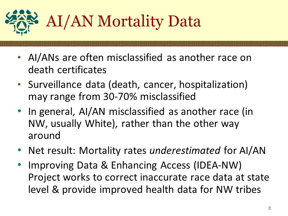 AI/ANs are often misclassified as another race on death certificates Surveillance data (death, cancer, hospitalization) may range from 30-70% misclassified In general, AI/AN misclassified as another race (in NW, usually White), rather than the other way around Net result: Mortality rates underestimated for AI/AN Improving Data & Enhancing Access (IDEA-NW) Project works to correct inaccurate race data at state level & provide improved health data for NW tribes AI/AN Mortality Data 2
