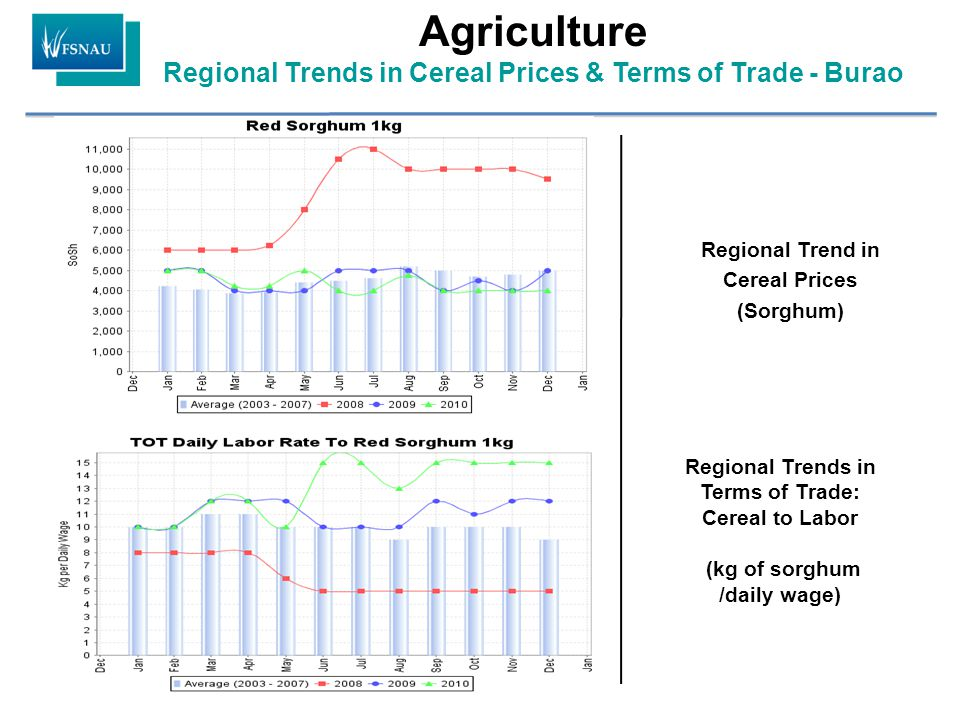 Regional Trend in Cereal Prices (Sorghum) Regional Trends in Terms of Trade: Cereal to Labor (kg of sorghum /daily wage) Agriculture Regional Trends in Cereal Prices & Terms of Trade - Burao