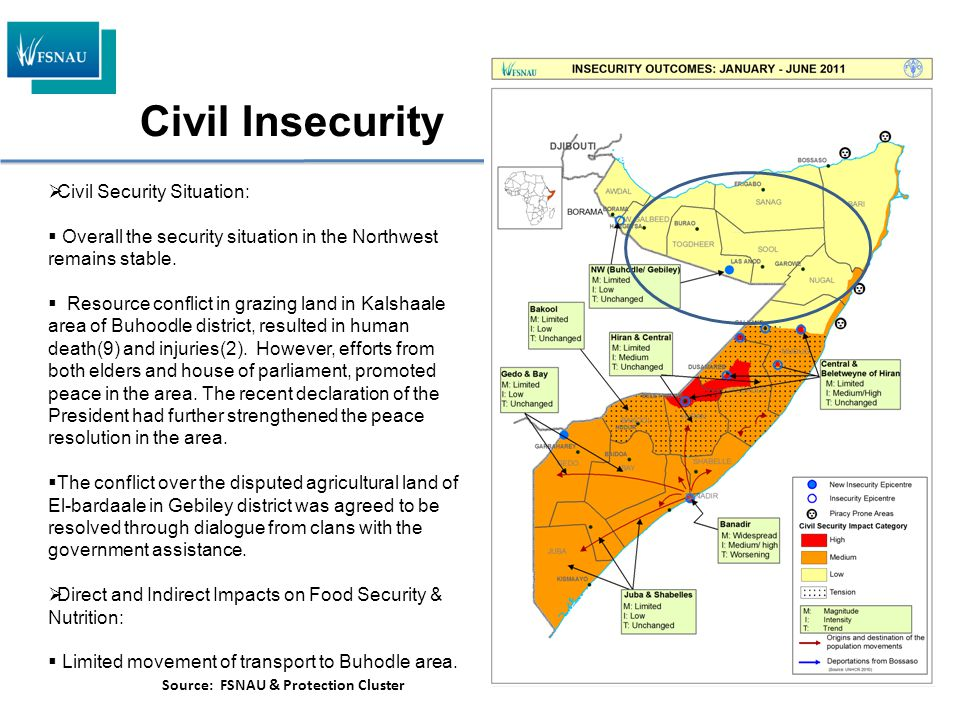  Civil Security Situation:  Overall the security situation in the Northwest remains stable.