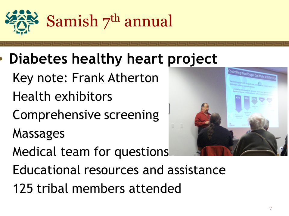 Diabetes healthy heart project Key note: Frank Atherton Health exhibitors Comprehensive screening Massages Medical team for questions Educational reso