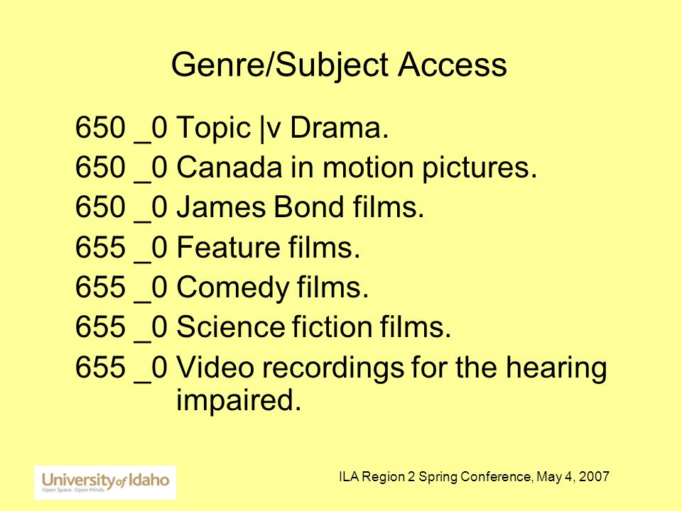ILA Region 2 Spring Conference, May 4, 2007 Genre/Subject Access 650 _0 Topic |v Drama.