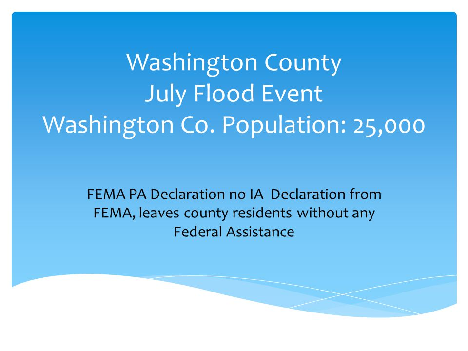 Washington County July Flood Event Washington Co.