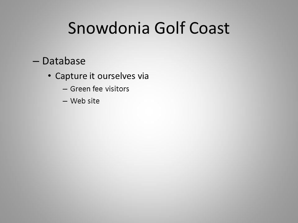 Snowdonia Golf Coast – Database Capture it ourselves via – Green fee visitors – Web site