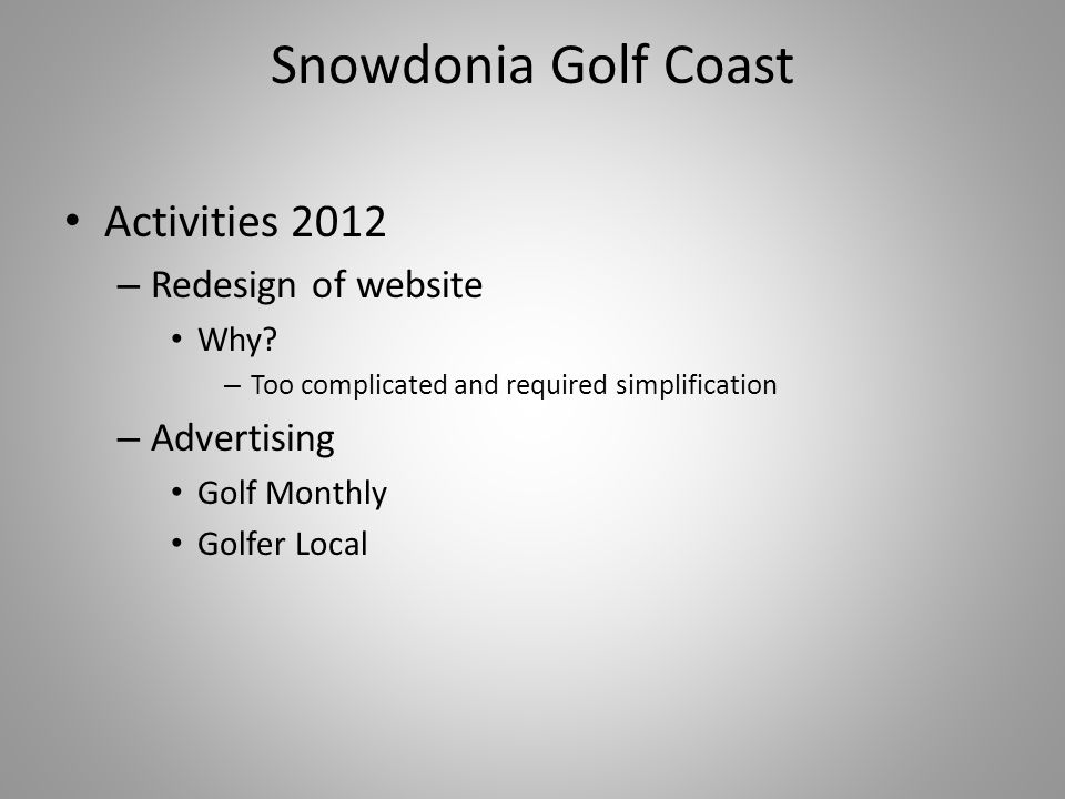 Snowdonia Golf Coast Activities 2012 – Redesign of website Why.