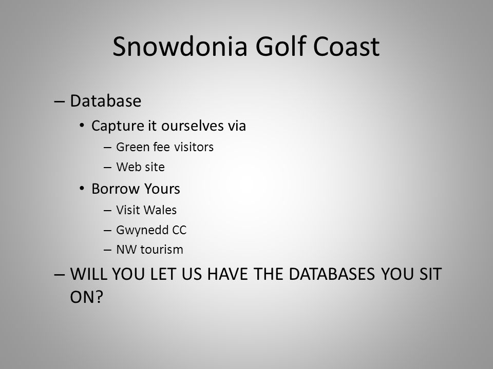 Snowdonia Golf Coast – Database Capture it ourselves via – Green fee visitors – Web site Borrow Yours – Visit Wales – Gwynedd CC – NW tourism – WILL YOU LET US HAVE THE DATABASES YOU SIT ON