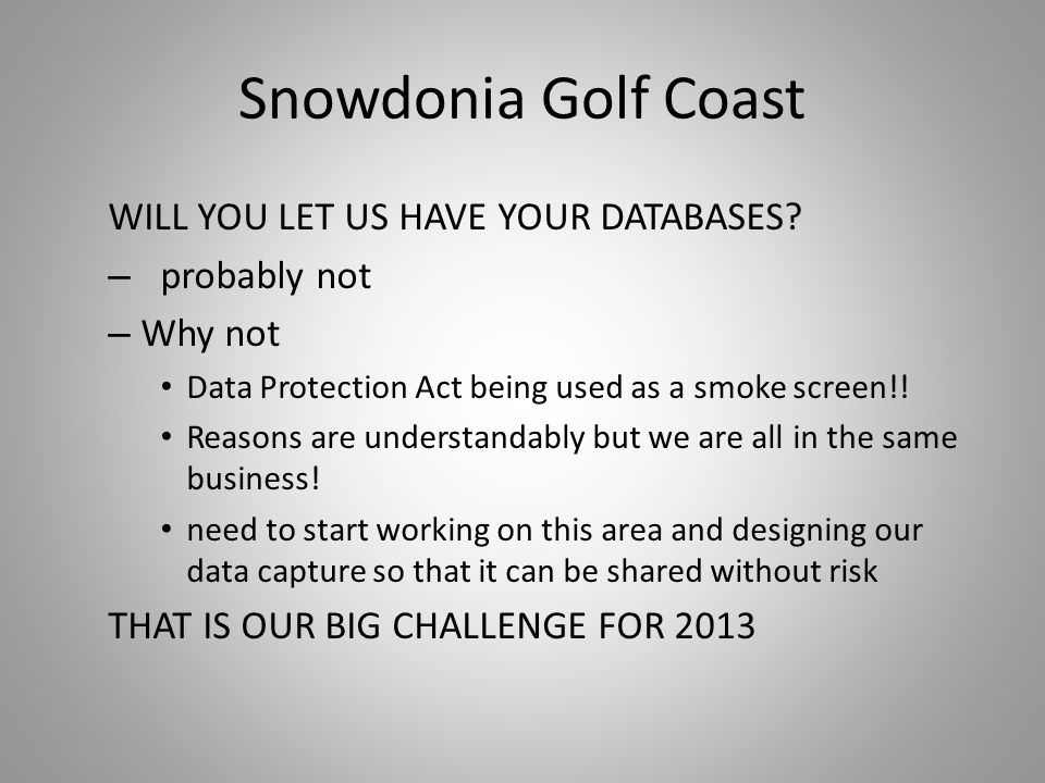 Snowdonia Golf Coast WILL YOU LET US HAVE YOUR DATABASES.