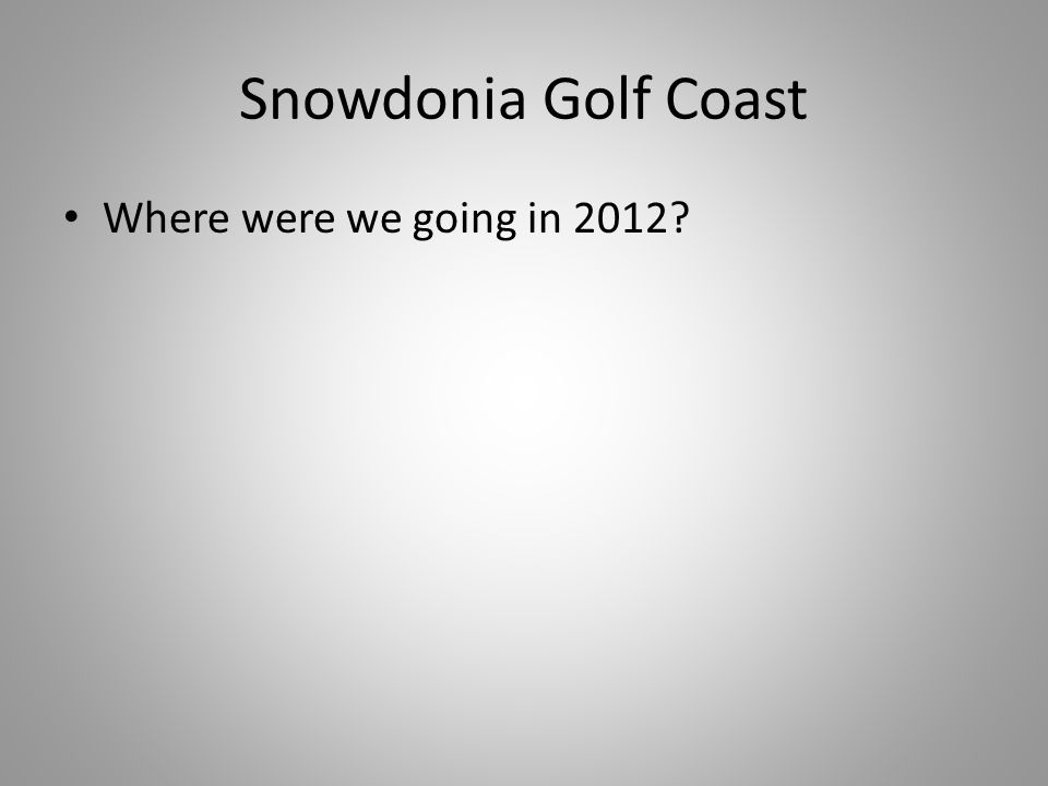 Snowdonia Golf Coast Where were we going in 2012