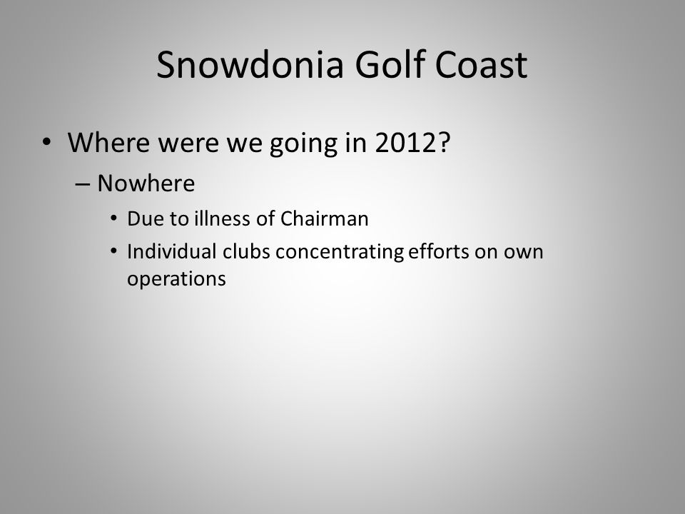 Snowdonia Golf Coast Where were we going in 2012.
