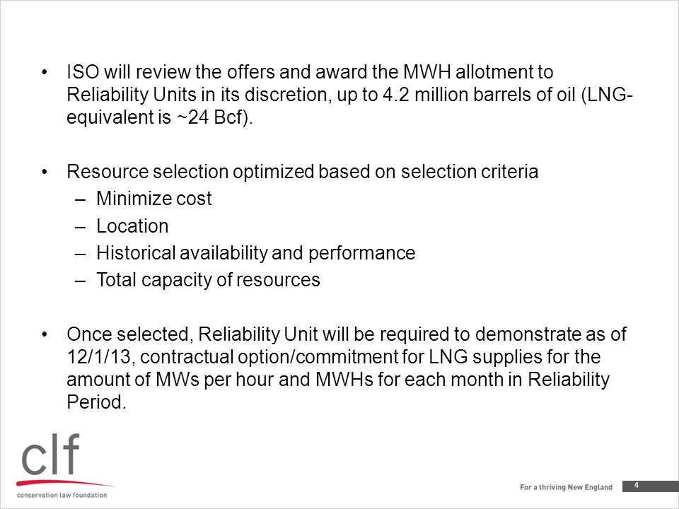 If Reliability Unit has a standing offer at the start of its operating day on its primary fuel and switches to LNG with ISO's approval (or at ISO-NE's request), the forecaster will substitute the LNG fuel reference cost as the supply offer for the duration of operations that operating day (as per ISO-NE's dual fuel procurement construct) For hours during which LNG fuel reference costs are reflected in offers or re-offers, Reliability Generator either: –A) re-directs flowing west to east pipeline gas to alternate unit (to the extent Reliability Unit has west to east flowing gas scheduled for delivery),or, –B) provides demonstration that Generator's nominated west to east pipeline gas was not scheduled by pertinent pipeline.