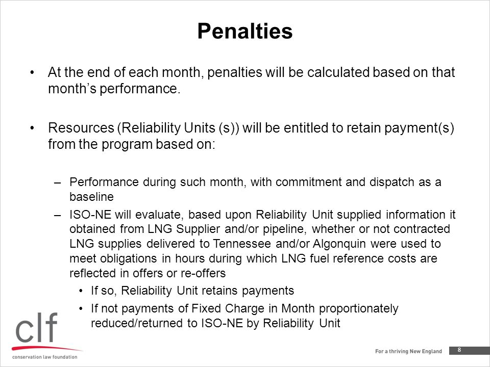 Penalties At the end of each month, penalties will be calculated based on that month's performance.