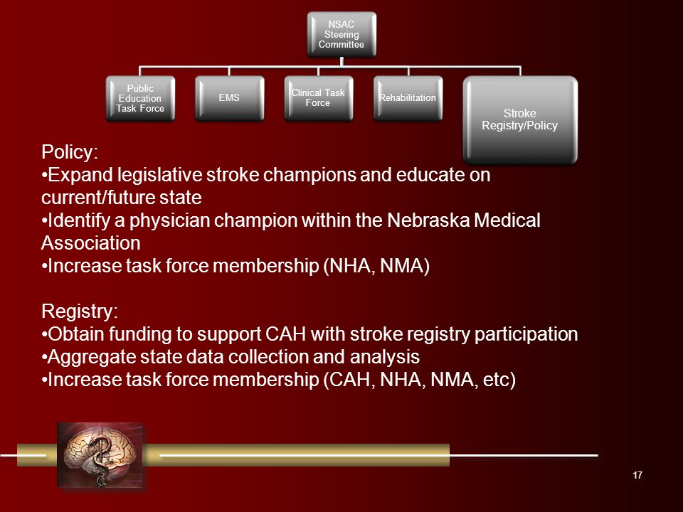 17 NSAC Steering Committee Public Education Task Force EMS Clinical Task Force Rehabilitation Stroke Registry/Policy Policy: Expand legislative stroke champions and educate on current/future state Identify a physician champion within the Nebraska Medical Association Increase task force membership (NHA, NMA) Registry: Obtain funding to support CAH with stroke registry participation Aggregate state data collection and analysis Increase task force membership (CAH, NHA, NMA, etc)