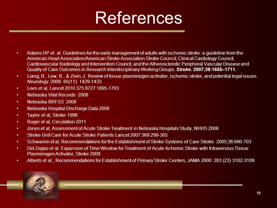 References Adams HP et. al.