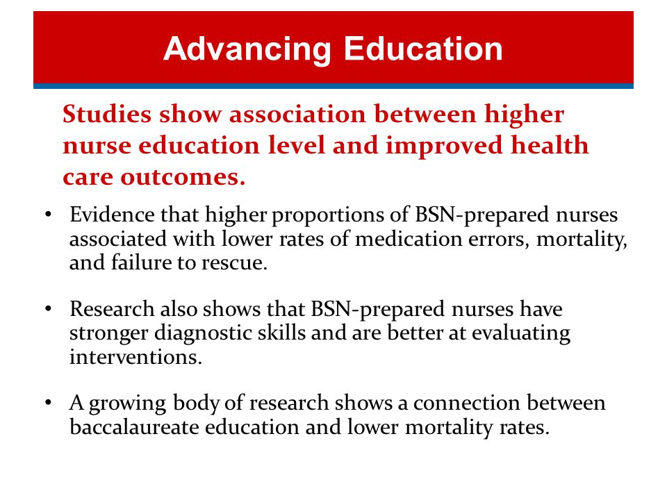 Education Evidence Studies show association between higher nurse education level and improved health care outcomes.