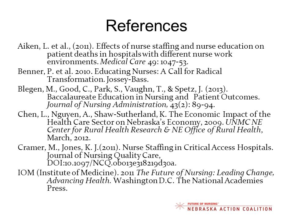 References Aiken, L. et al., (2011). Effects of nurse staffing and nurse education on patient deaths in hospitals with different nurse work environmen