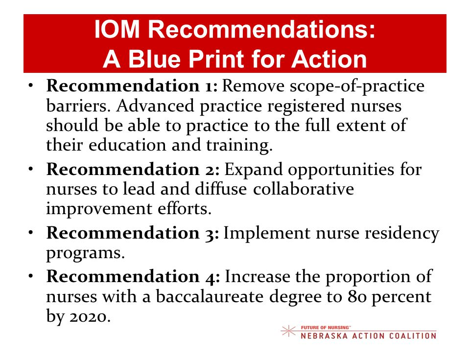 IOM Recommendations: A Blue Print for Action Recommendation 1: Remove scope-of-practice barriers.