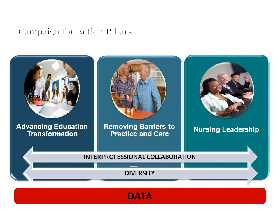 Advancing Education Transformation Removing Barriers to Practice and Care Nursing Leadership DATA INTERPROFESSIONAL COLLABORATION DIVERSITY