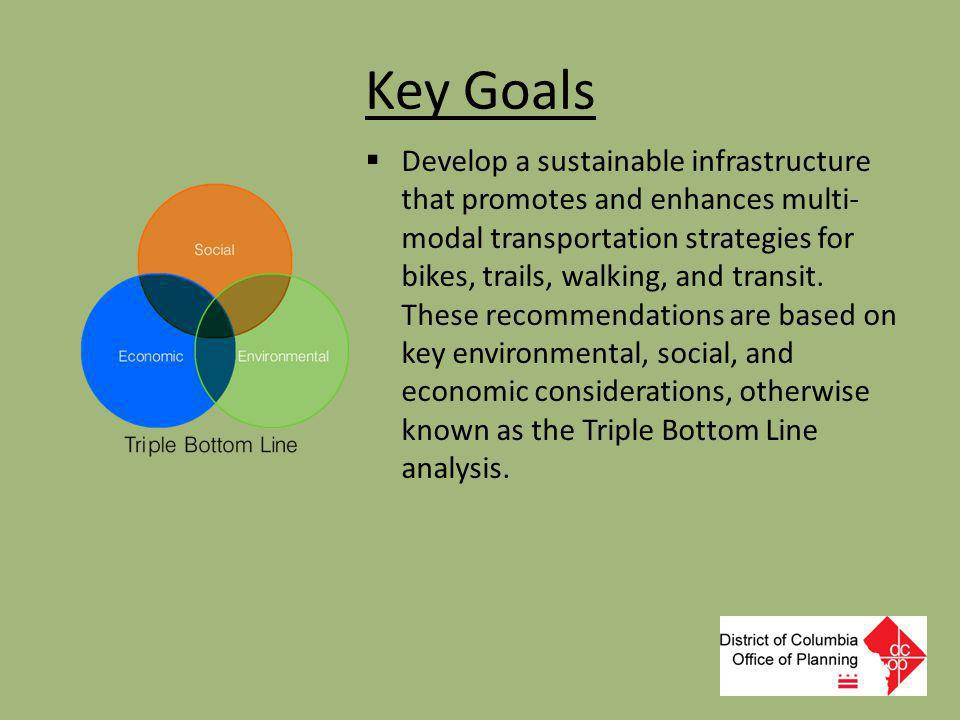 Key Goals  Develop a sustainable infrastructure that promotes and enhances multi- modal transportation strategies for bikes, trails, walking, and tra
