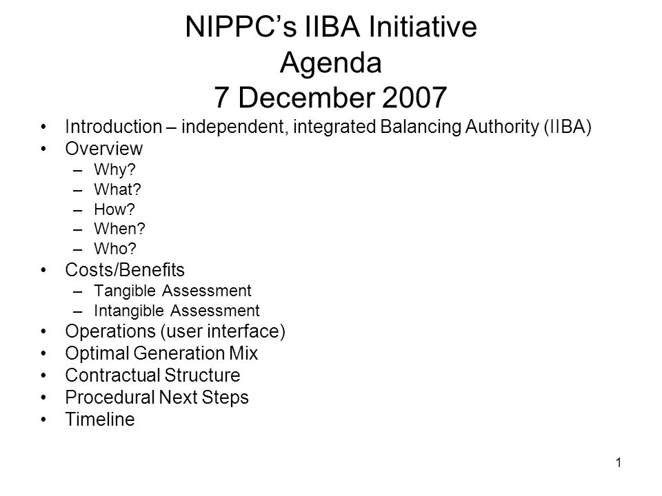 1 NIPPC's IIBA Initiative Agenda 7 December 2007 Introduction – independent, integrated Balancing Authority (IIBA) Overview –Why.