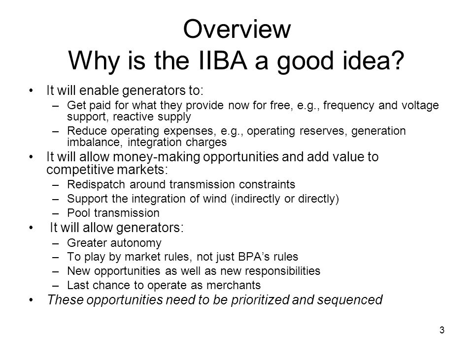 3 Overview Why is the IIBA a good idea.