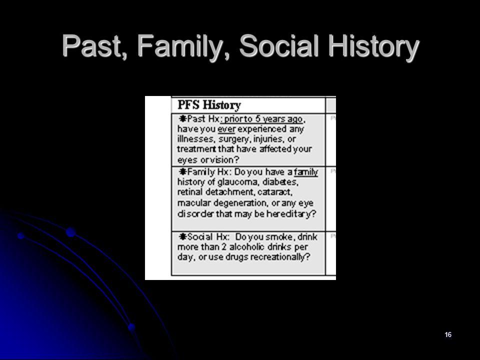 16 Past, Family, Social History