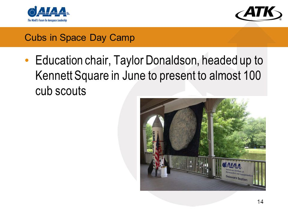 Cubs in Space Day Camp Education chair, Taylor Donaldson, headed up to Kennett Square in June to present to almost 100 cub scouts 14